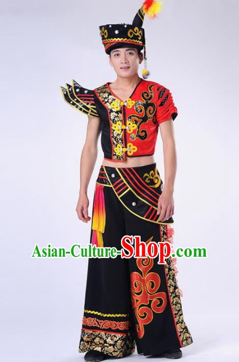 Chinese Yi Nationality Ethnic Dance Costume Traditional Minority Folk Dance Clothing for Men