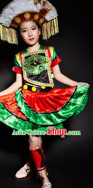 Chinese Gaoshan Nationality Stage Performance Costume Traditional Ethnic Minority Clothing for Kids