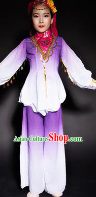Chinese Salar Nationality Stage Performance Costume Traditional Ethnic Minority Purple Clothing for Kids