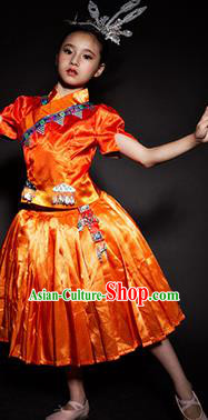Chinese Yao Nationality Stage Performance Costume Traditional Ethnic Minority Red Clothing for Kids