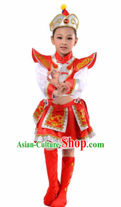 Chinese Mongol Nationality Ethnic Red Costume Traditional Minority Folk Dance Stage Performance Clothing for Kids