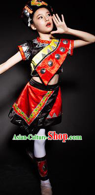 Chinese Jingpo Nationality Ethnic Stage Performance Costume Traditional Minority Folk Dance Clothing for Kids