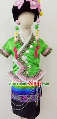 Chinese Blang Nationality Ethnic Stage Performance Costume Traditional Minority Folk Dance Clothing for Kids