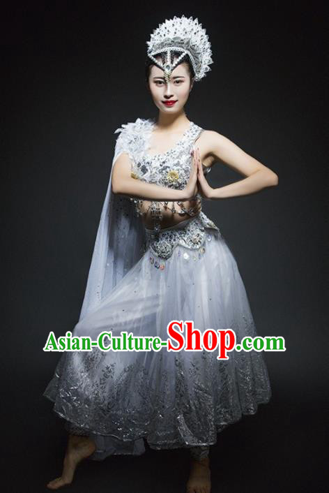 Indian Traditional Dance Costume Oriental Belly Dance White Clothing for Women