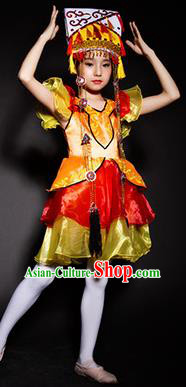 Chinese Khalkhas Nationality Ethnic Costume Traditional Minority Folk Dance Stage Performance Clothing for Kids