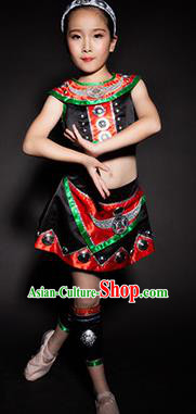 Chinese Wa Nationality Ethnic Stage Performance Costume Traditional Minority Folk Dance Clothing for Kids