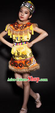 Chinese Hezhen Nationality Ethnic Yellow Costume Traditional Minority Folk Dance Stage Performance Clothing for Kids