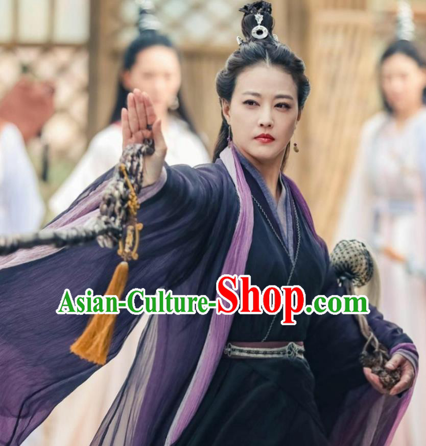Drama Relying on Heaven to Slaughter Dragons Chinese Ancient Yuan Dynasty Taoist Nun Swordswoman Historical Costume and Headpiece Complete Set