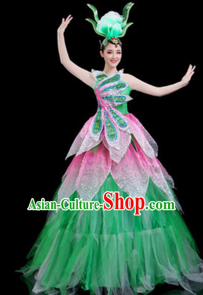 Traditional Chinese Spring Festival Gala Opening Dance Green Veil Dress Modern Dance Stage Performance Costume for Women