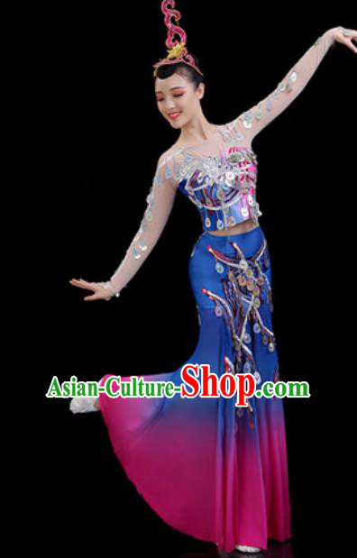 Traditional Chinese Minority Ethnic Peacock Dance Dress Dai Nationality Stage Performance Costume for Women