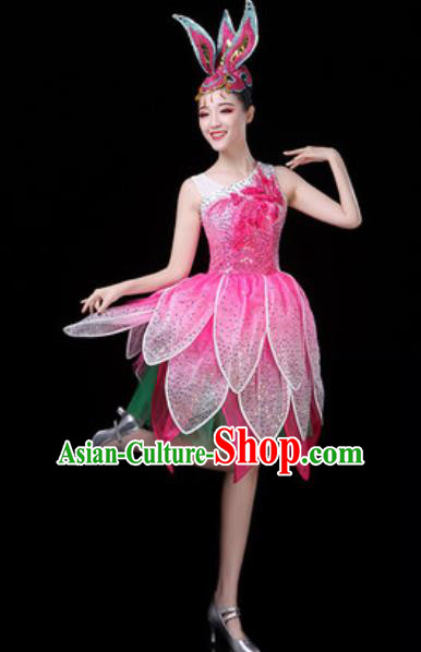 Traditional Chinese Opening Dance Lotus Dance Pink Dress Modern Dance Stage Performance Costume for Women