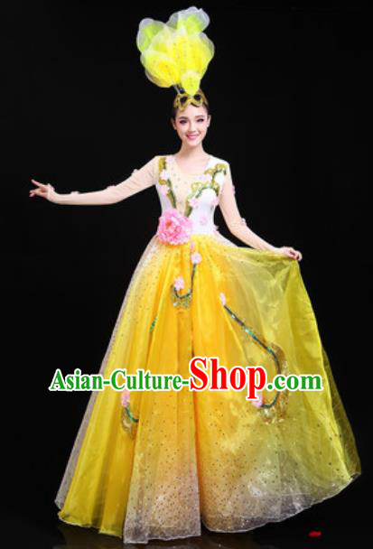 Traditional Chinese Spring Festival Gala Opening Dance Yellow Dress Modern Dance Stage Performance Costume for Women