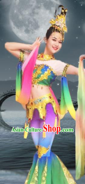 Chinese Traditional Classical Dance Green Dress Dunhuang Flying Apsaras Stage Performance Costume for Women
