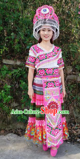 Chinese Traditional Miao Nationality Pink Dress Minority Ethnic Folk Dance Embroidered Costume for Women