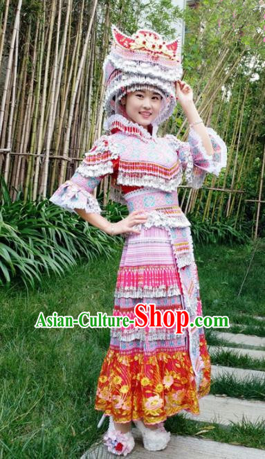 Traditional Chinese Miao Nationality Wedding Dress Minority Ethnic Folk Dance Costume for Women