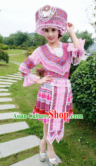 Traditional Chinese Miao Nationality Wedding Pink Short Dress Minority Ethnic Folk Dance Costume for Women