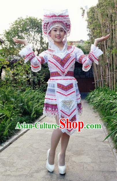 Traditional Chinese Miao Nationality Short Dress and Hat Minority Ethnic Folk Dance Costume for Women