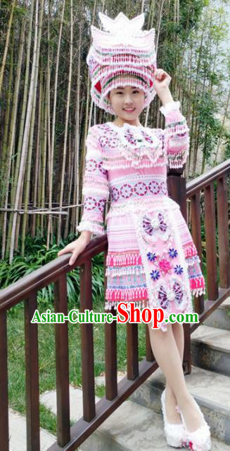 Traditional Chinese Miao Nationality Pink Short Pleated Dress Minority Ethnic Folk Dance Costume for Women