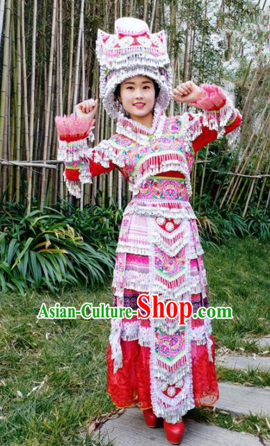Traditional Chinese Miao Nationality Red Veil Dress Minority Ethnic Folk Dance Costume for Women