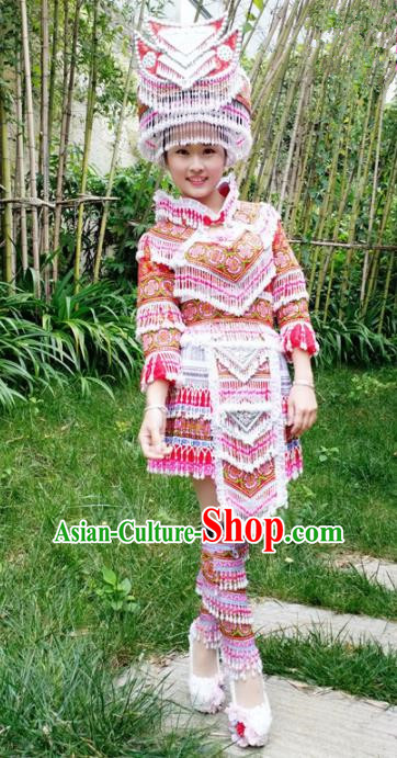 Traditional Chinese Miao Nationality Folk Dance Red Short Dress Minority Ethnic Wedding Stage Performance Costume for Women