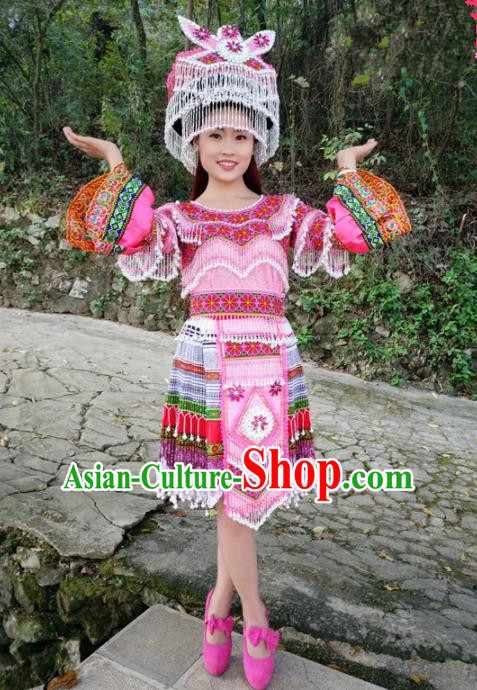 Traditional Chinese Miao Nationality Folk Dance Short Dress Minority Ethnic Wedding Stage Performance Costume for Women