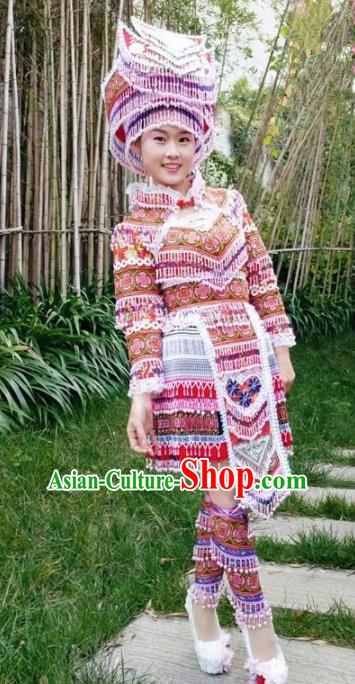 Chinese Traditional Miao Nationality Red Short Dress Minority Ethnic Folk Dance Costume for Women
