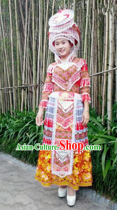 Traditional Chinese Miao Nationality Princess Folk Dance Dress Minority Ethnic Wedding Stage Performance Costume for Women