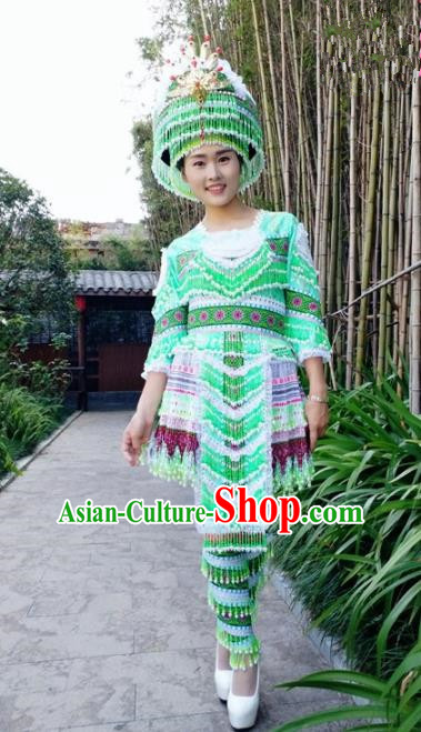 Traditional Chinese Miao Nationality Folk Dance Beads Tassel Green Short Dress Minority Ethnic Wedding Stage Performance Costume for Women