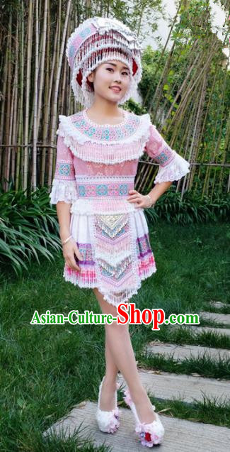 Traditional Chinese Miao Nationality Pink Short Dress Minority Ethnic Folk Dance Stage Performance Costume for Women
