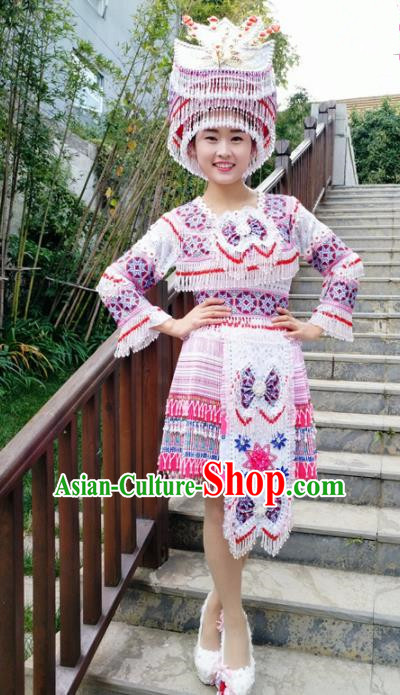 Traditional Chinese Minority Ethnic Folk Dance Short Dress Miao Nationality Stage Performance Costume and Hat for Women