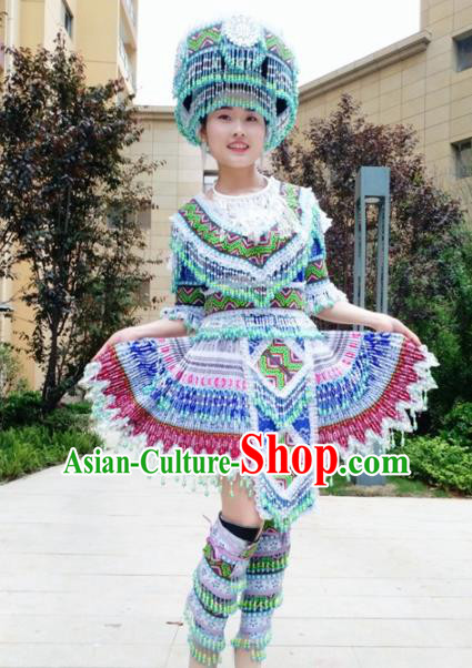 Traditional Chinese Minority Ethnic Folk Dance Embroidery Blue Short Dress Miao Nationality Stage Performance Costume and Hat for Women