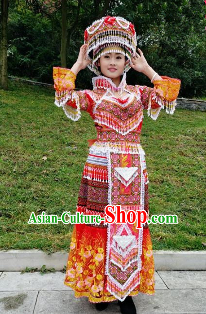 Traditional Chinese Miao Nationality Bride Embroidered Red Long Dress Minority Ethnic Folk Dance Stage Performance Costume for Women