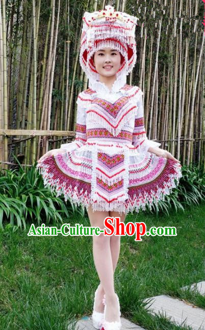 Traditional Chinese Miao Nationality Female Embroidered White Short Dress Minority Ethnic Folk Dance Stage Performance Costume for Women