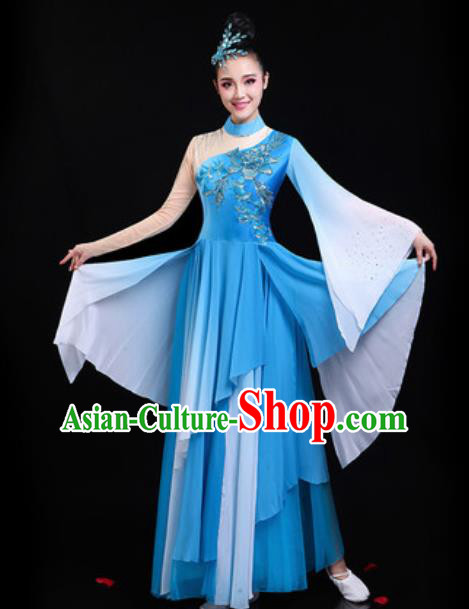 Traditional Chinese Classical Dance Group Dance Blue Dress Umbrella Dance Stage Performance Costume for Women