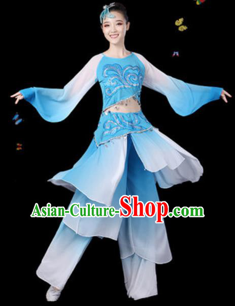 Traditional Chinese Classical Dance Blue Clothing Umbrella Dance Group Dance Stage Performance Costume for Women