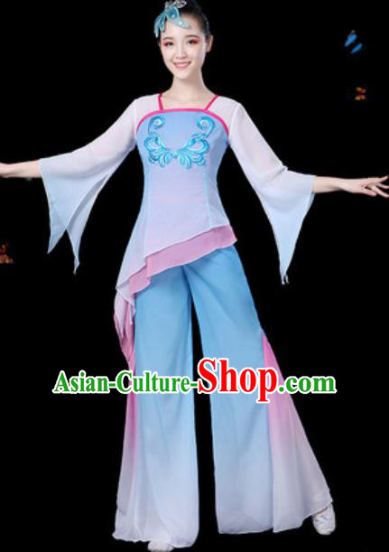 Traditional Chinese Yangko Group Dance Blue Clothing Folk Dance Fan Dance Stage Performance Costume for Women