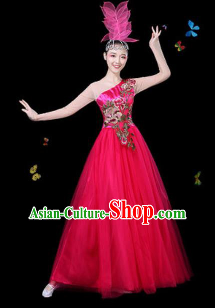 Traditional Chinese Modern Dance Veil Dress Spring Festival Gala Opening Dance Stage Performance Costume for Women
