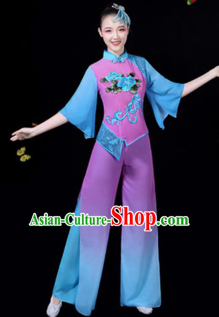 Traditional Chinese Group Dance Yangko Clothing Folk Dance Fan Dance Stage Performance Costume for Women