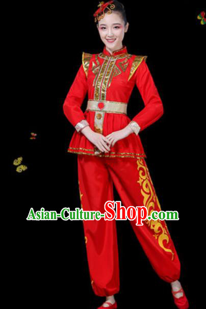 Traditional Chinese Group Dance Yangko Red Clothing Folk Dance Fan Dance Stage Performance Costume for Women
