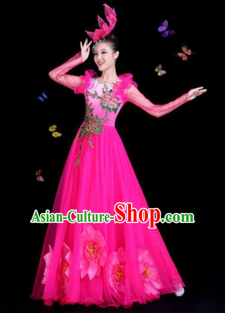 Traditional Chinese Modern Dance Rosy Dress Spring Festival Gala Opening Dance Stage Performance Costume for Women