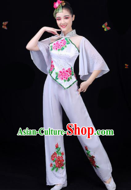 Traditional Chinese Yangko Embroidered White Clothing Folk Dance Fan Dance Stage Performance Costume for Women
