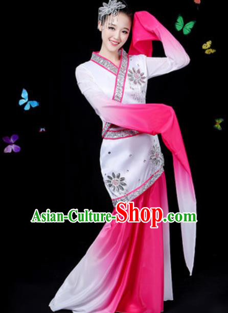 Chinese Traditional Classical Dance Rosy Water Sleeve Dress Umbrella Dance Group Dance Stage Performance Costume for Women