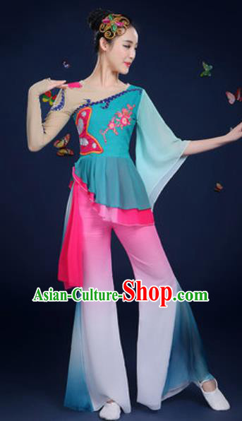 Chinese Traditional Fan Dance Lotus Dance Green Dress Classical Dance Stage Performance Costume for Women
