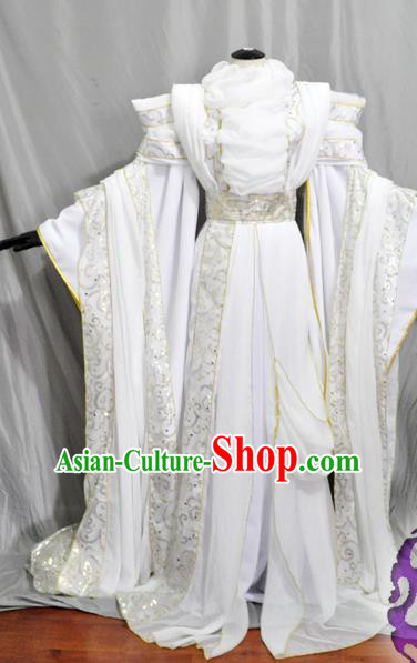 Traditional Chinese Han Dynasty Princess White Hanfu Dress Ancient Empress Embroidered Costume for Women