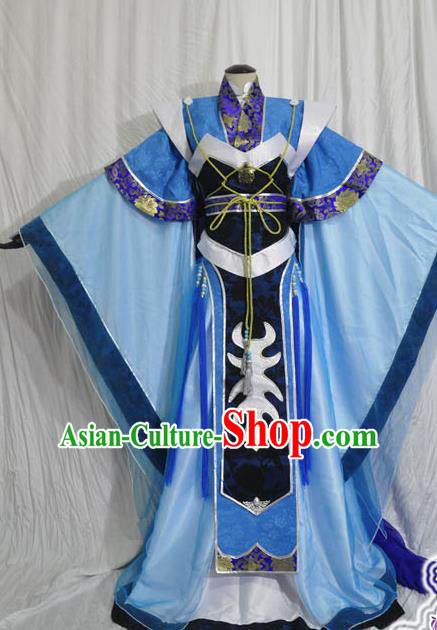 Traditional Chinese Cosplay Swordsman Blue Hanfu Clothing Ancient Prince Embroidered Costume for Men