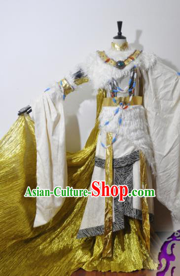 Traditional Chinese Han Dynasty Swordswoman Hanfu Dress Ancient Female Knight Embroidered Costume for Women