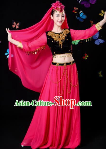 Traditional Chinese Minority Ethnic Rosy Dress Uyghur Nationality Folk Dance Stage Performance Costume for Women