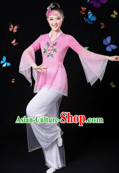 Traditional Chinese Yangko Dance Pink Veil Clothing Folk Dance Fan Dance Stage Performance Costume for Women