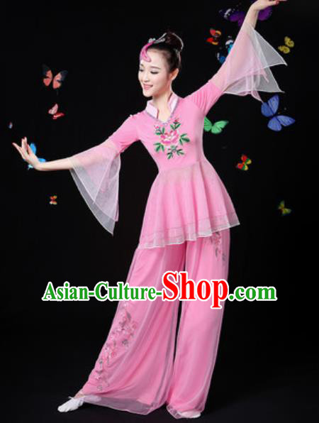 Traditional Chinese Yangko Group Dance Pink Veil Clothing Folk Dance Fan Dance Stage Performance Costume for Women