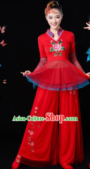 Traditional Chinese Yangko Group Dance Red Veil Clothing Folk Dance Fan Dance Stage Performance Costume for Women